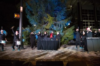 An ensemble from Charlotte Bronze performs at the Carolina Panthers Tree Lighting in November 2017.
